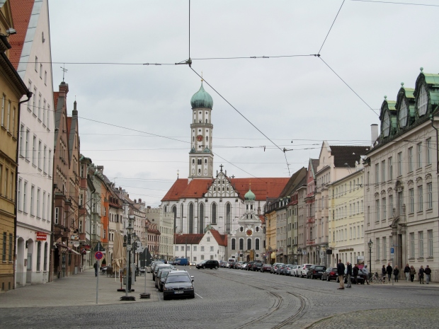 Maximilianstrasse with St Afra Kirche in the background