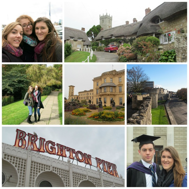 Clockwise from top left: Ocean Village Southampton, Godshill Isle of Wight, University Campus, Osborne House Isle of Wight, Southampton Old Walls, Brighton and my boyfriend's Graduation